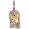 14K Yellow Gold 0.56 ct Diamond Jesus Face Mens Pendant