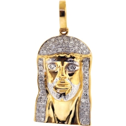 Mens Diamond Jesus Religious Pendant 10K Yellow Gold 0.49ct