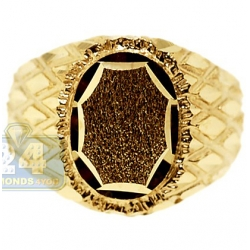10K Yellow Gold Diamond Cut Mens Oval Signet Ring