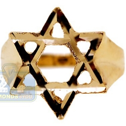 10K Yellow Gold Jewish Star of David Mens Signet Ring