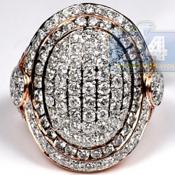 14K Pink Gold 3.27 ct Pave Diamond Womens Oval Ring