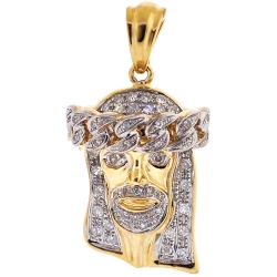 Mens Diamond Cuban Halo Jesus Christ Pendant 10K Yellow Gold