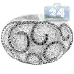 14K White Gold 2.40 ct White Black Diamond Swirls Womens Ring