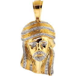 Mens Diamond Jesus Face Head Religious Pendant 10K Yellow Gold