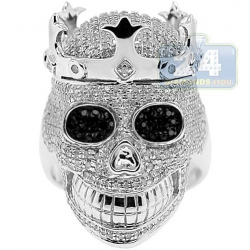 925 Sterling Silver 2.75 ct White Diamond Mens Skull Ring