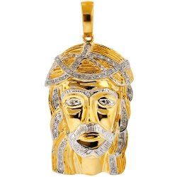 Mens Diamond Jesus Christ Charm Pendant 10K Yellow Gold 0.27ct