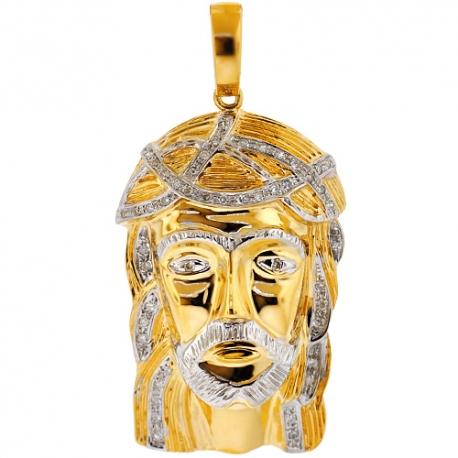 Mens Diamond Jesus Christ Charm Pendant 10K Yellow Gold 0.27ct