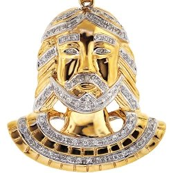 Mens Diamond Head Jesus Christ Pendant 10K Yellow Gold 0.47ct