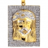 Mens Diamond Jesus Christ Tag Medallion 10K Yellow Gold 0.48ct