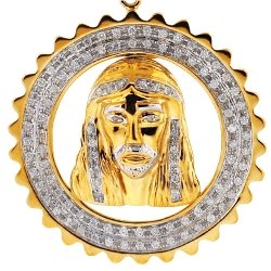 Mens Diamond Jesus Face Framed Pendant 10K Yellow Gold 0.64ct