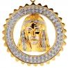 10K Yellow Gold 0.64 ct Diamond Jesus Mens Framed Pendant