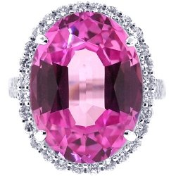Womens Pink Sapphire Diamond Halo Cocktail Ring 18K White Gold
