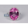 18K White Gold 24.47 ct Pink Sapphire Diamond Womens Ring