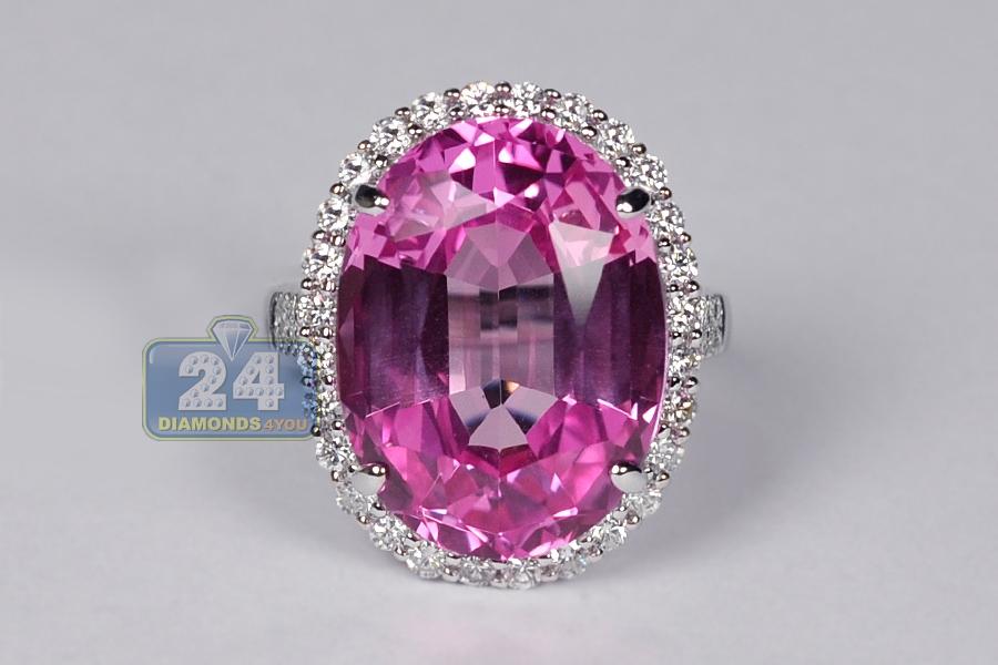 Womens Pink Sapphire Diamond Halo Ring 18k White Gold 24 47 Ct