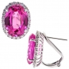 Womens Pink Sapphire Diamond Halo Huggie Earrings 18K White Gold