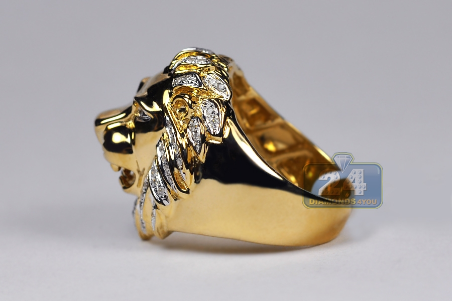heavy gold head rings solid grams mens product ring handcarved size yellow lion