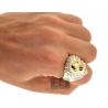 Mens Diamond Lion Head Pinky Signet Ring 10K Yellow Gold 0.41 Carat