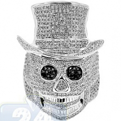 10K White Gold 3.40 ct Black Eyed Diamond Mens Skull Ring