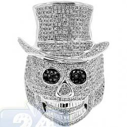 10K White Gold 3.40 ct Black Eyed Diamond Mens Skull Ring