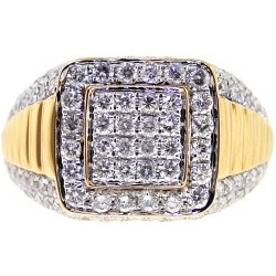 14K Yellow Gold 2.64 ct Diamond Men's Step Ring