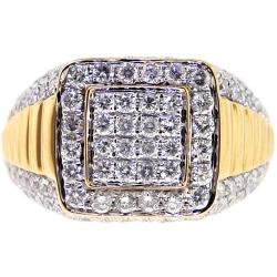 14K Yellow Gold 2.64 ct Diamond Men's Step Ring