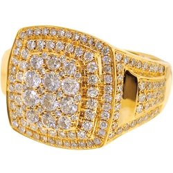14K Yellow Gold 2.57 ct Diamond Men's Square Ring