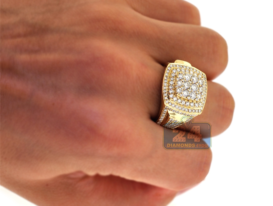 Mens Diamond Square Pinky Ring 14K Yellow Gold 2 57 ct