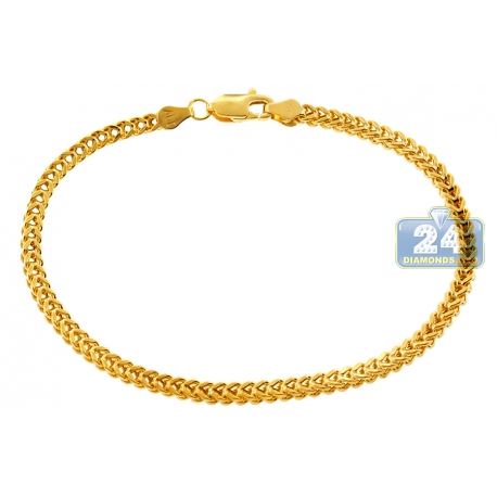 Italian 10K Yellow Gold Franco Link Mens Bracelet 3mm 8""