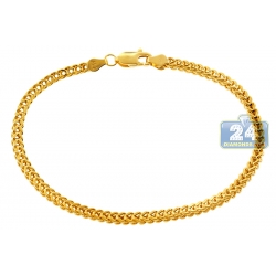 10K Yellow Gold Franco Link Mens Bracelet 3 mm 8 inches