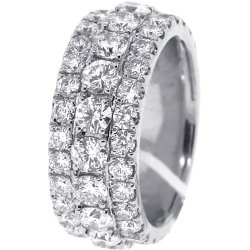 14K White Gold 5.75 ct Diamond Mens Eternity Ring 10 mm