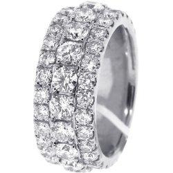 14K White Gold 5.75 ct Diamond Mens Eternity Ring 10 mm