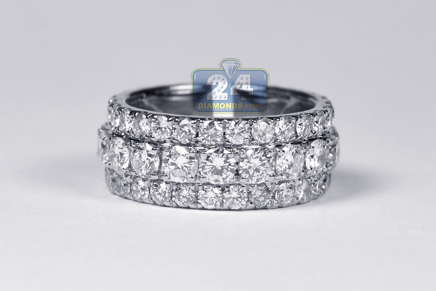 Mens Diamond Eternity Band Ring 14k White Gold 5 75 Ct 10 Mm