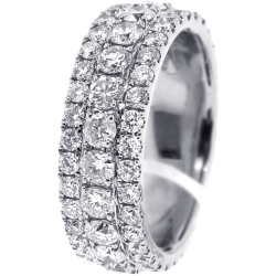 14K White Gold 4.80 ct Diamond Mens Eternity Band 8 mm