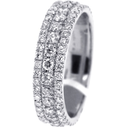 14K White Gold 2.65 ct Diamond Wedding Eternity Ring 6 mm