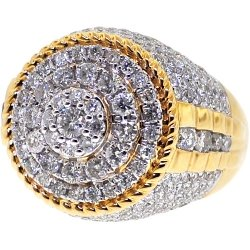 14K Yellow Gold 3.96 ct Diamond Cluster Men's Ring