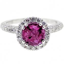 GIA 18K White Gold 2.78 ct Pink Sapphire Diamond Womens Ring
