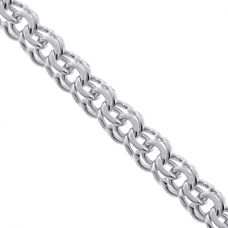 Mens Custom Chain Solid 14K White Gold Russian Bismark 5.5 mm