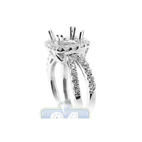 18K White Gold 0.92 ct Diamond Engagement Semi Mount Setting
