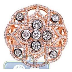 18K Rose Gold 1.66 ct Diamond Cluster Round Shape Ring