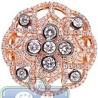 18K Rose Gold 1.66 ct Diamond Cluster Round Shape Vintage Ring