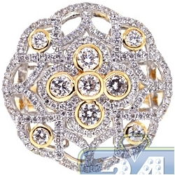 18K Yellow Gold 1.73 ct Diamond Cluster Vintage Style Ring