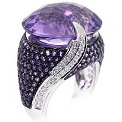 14K White Gold 22.70 ct Purple Amethyst Diamond Cocktail Ring