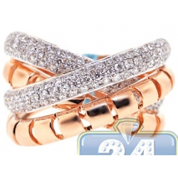 18K Rose Gold 1.50 ct Diamond Womens Crisscross Ring