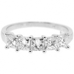 14K White Gold 1.83 ct 5 Stone Princess Cut Diamond Womens Ring