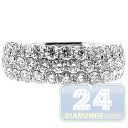 14K White Gold 1.86 ct 3 Row Diamond Wedding Band Ring