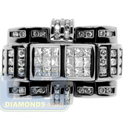 Black 14K White Gold 1.60 ct Diamond Mens Signet Ring