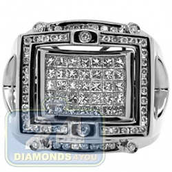 Black 14K White Gold 1.50 ct Mixed Cut Diamond Mens Signet Ring