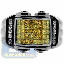 Black PVD 14K Gold 1.34 ct Yellow Princess Cut Diamond Mens Ring