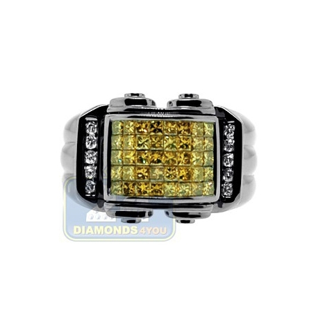Black 14K Gold 1.34 ct Yellow Princess Cut Diamond Mens Ring