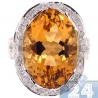 14K White Gold 18.04 ct Citrine Diamond Womens Cocktail Ring